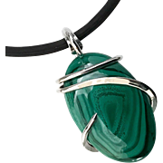 Natural Malachite Silver Wrapped Pendant Necklace