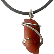 Red River Jasper Sterling Silver Wire Wrap Pendant Necklace