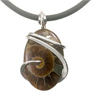 Fossilized Ammonite Sterling Silver Wrapped Pendant Necklace