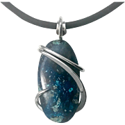 Azurite Sterling Silver Wire Wrap Pendant Necklace