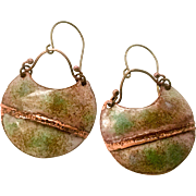 Rustic Green And Brown Copper Enamel Earrings