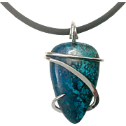 Cold Forged Silver Wrapped Azurite Malachite Pendant Necklace