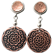 Copper And Silver Post Earrings