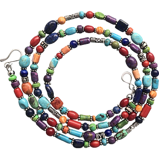 Turquoise, Coral, Lapis, Spiny Oyster Southwestern Necklace