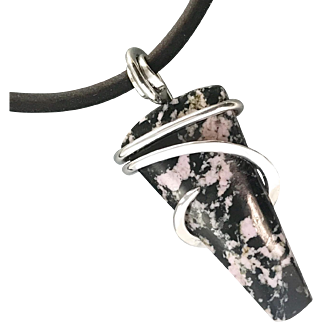 Rhodonite Sterling Silver Wire Wrapped Pendant Necklace