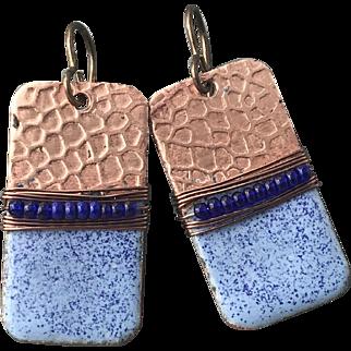Rustic Blue Enamel Earrings