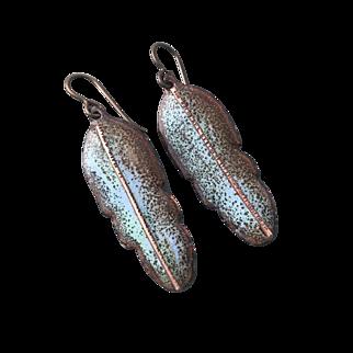 Enameled Feather Earrings