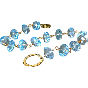 Outstanding 9mm Blue Topaz-14k Solid Yellow Gold Bracelet