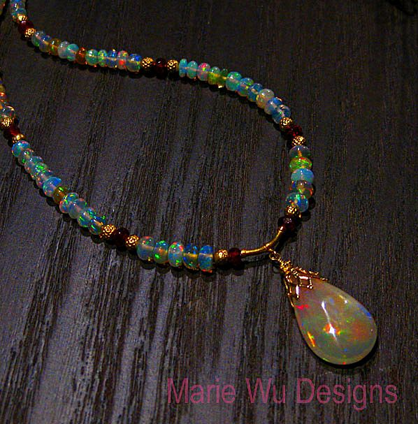 Ethiopian welo opal necklace beautyful jewelry 30 85ct welo ethiopian opal ruby 22k 20k 18k gold pendant necklace mozeypictures Gallery