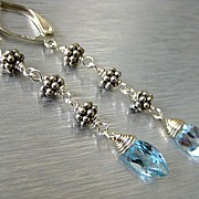 Sky Blue Topaz Marquise-Bali Silver Long Dangle Earrings