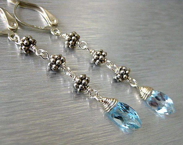 Sky Blue Topaz Marquise-Bali Silver Long Dangle Earrings