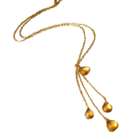 Alluring-All Natural Citrine -14k Gold Fill- Cascading Adjustable Necklace