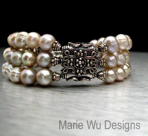 3 Strand-Antique Hue FW Pearls-Artisan Bali Silver Bracelet