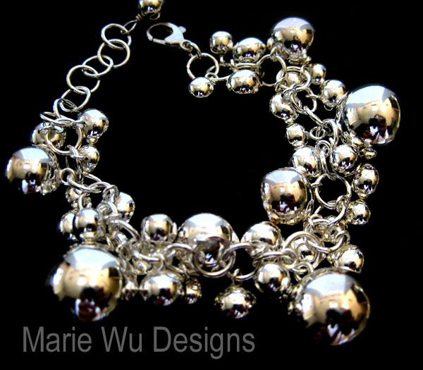 Sterling Silver Bubble-Sphere-Orb- Beaded Adjustable-Charm Bracelet