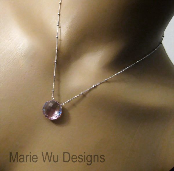 Simply Elegant-16mm Natural Pink Amethyst-Sterling Silver Beaded Pendant Necklace