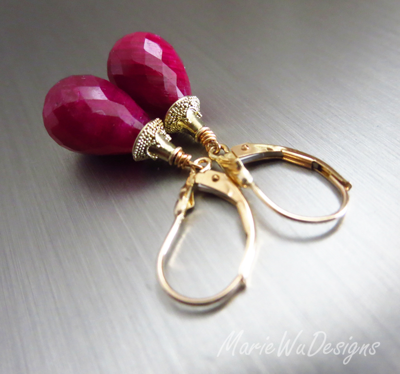 22.8ct Ruby-14k Solid Gold Leverback Dangle Earrings