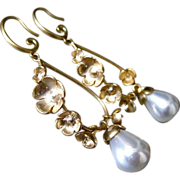 Bloom-Multi Blossom 18k Gold Plated-Shell Pearls- Articulating Charm Hoop Earrings