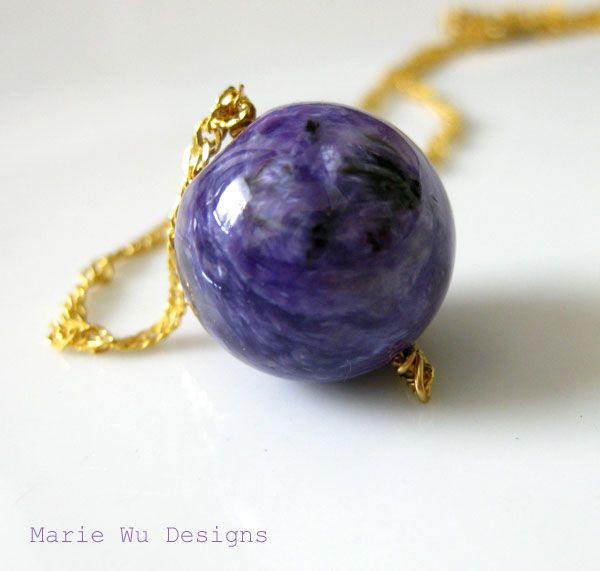16mm Russian Purple Charoite Orb-Textured Gold Plated Pendant Necklace