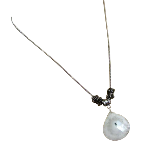 Solar Quartz Pendant-Bali Bead-Sterling Silver Necklace