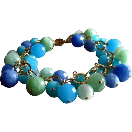Ocean Colors Quartz-14k Gold Fill Charm Bracelet