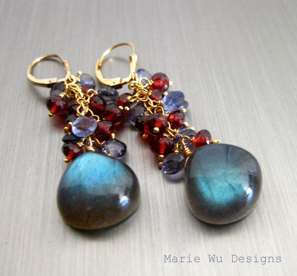 The Best Labradorite-Garnet-Iolite Fringe-14k Gold Fill-Gold Vermeil Cascade Earrings