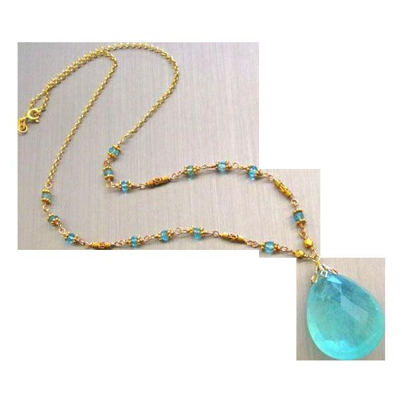 Spellbound-60ct Aquamarine-Beryl Pendant-18k-22k Solid Gold-Apatite Necklace