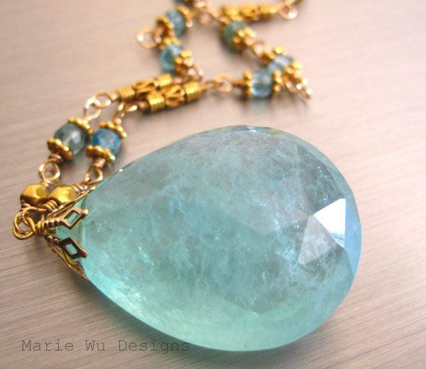 Spellbound 60ct aquamarine beryl pendant 18k 22k solid gold roll over large image to magnify click large image to zoom mozeypictures Images