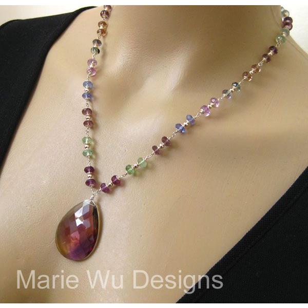 Stunning Ametrine Pendant-Gem Transparent Fluorite-Sterling Silver Necklace