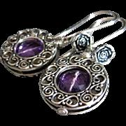 Purple Amethyst-Balinese Silver Hoops- Rosebud Dangle Earrings