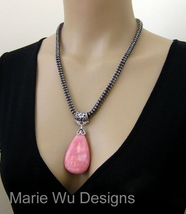 OOAK-98ct Natural Pink Opal Pendant-Balinese Artisan Silver Necklace
