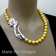 "12mm Genuine Golden Fresh Water Pearl-3"" Sterling Silver Rose Clasp-Hand Knotted Necklace"