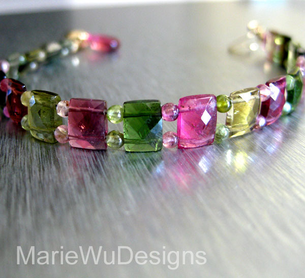Gem Grade-Multi Tourmaline-Pink-Green-Cushion-Chiclet-14k Solid Gold Bracelet with Hot Pink Tourmaline Charm