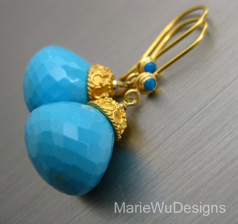 28ct Sleeping Beauty Turquoise 18k 22k Solid Yellow Gold Dangle Marie Wu Designs Wearable Art With Eclectic Gems Ruby Lane