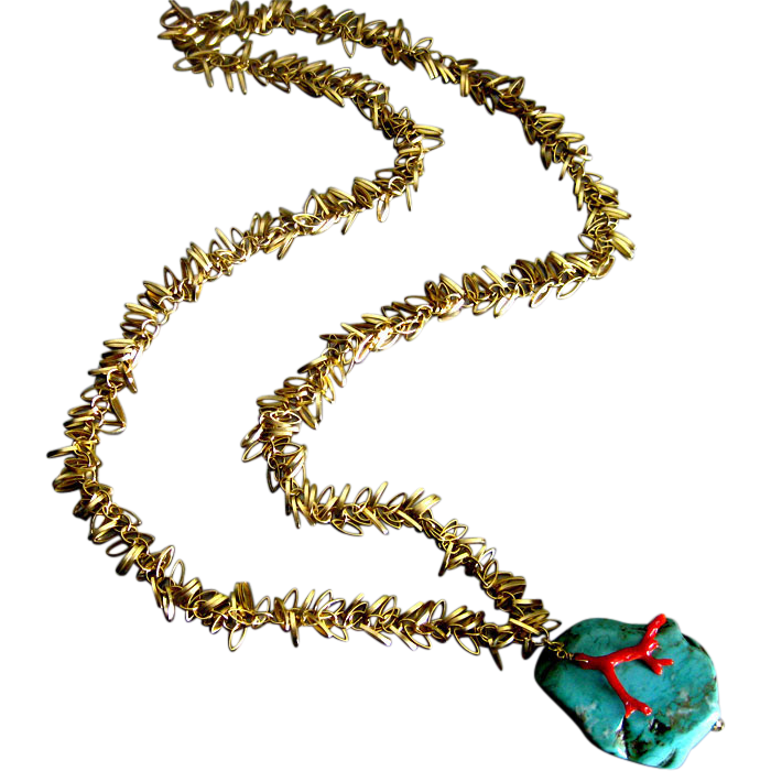 Turquoise Slab-Vintage Mediterranean Branch Coral-Gold Plated Long Charm Necklace