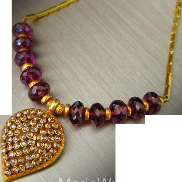 1.5ct Rose Cut Diamonds-Rubellite Garnet-Solid 22k-18k OOAK-Pendant Necklace