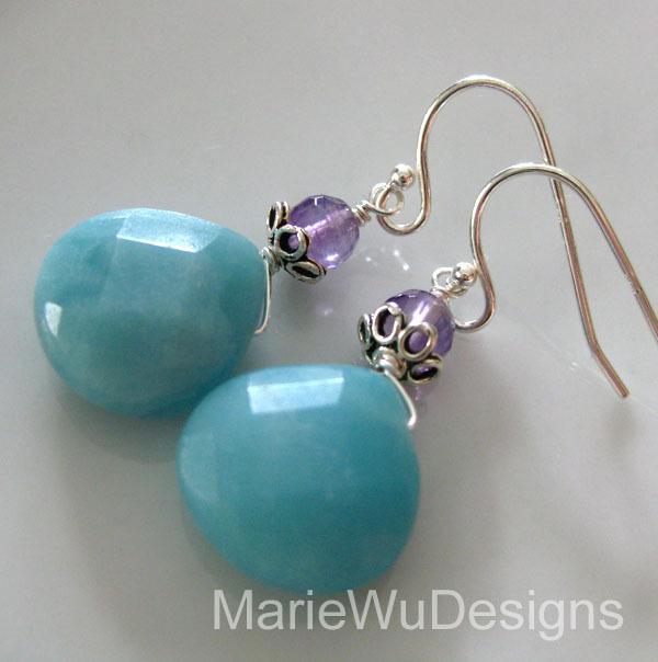 Amazonite-Amethyst-Sterling Silver Dangle Earrings