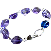 Exceptional-Natural Pink Amethyst Nugget-Gem Kyanite Pebble-Sterling Silver Bracelet
