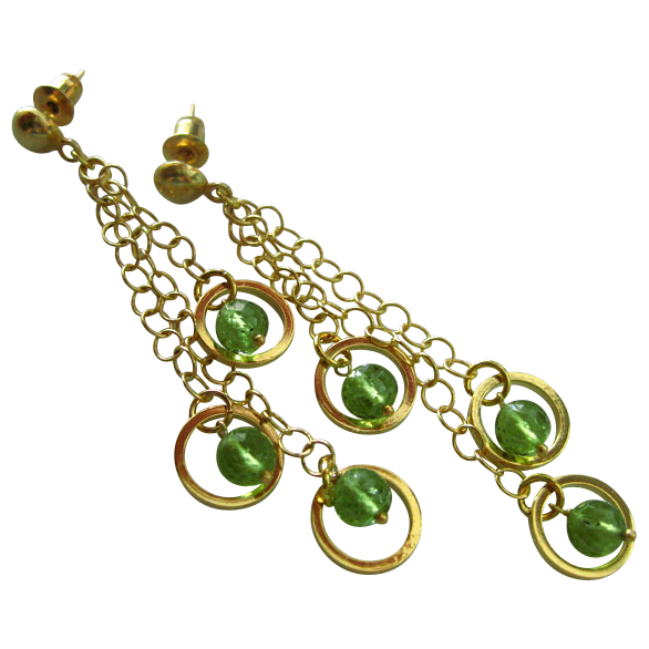Swingers-Peridot-18k Gold Vermeil-Gold Fill-Three Tier Cascading Waterfall Post Earrings