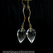 AAA Crystal Quartz Teardrops-14k Solid Yellow Gold Dangle Earrings