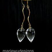 AAA Crystal Quartz Teardrops-14k Solid Yellow Gold Dangle Earrings