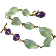 Glowing Prehnite Nugget-Purple Amethyst Gold Fill Toggle Bracelet with Charm