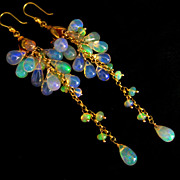 AAA Ethiopian Welo Opal-Solid 18k Gold Cascade Waterfall Earrings
