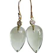 Natural Green Amethyst Cabochon-14k Solid Gold-CZ Dangle Earrings