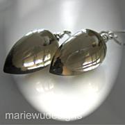 14k Solid White Gold-Gem Smoky Smokey Quartz-Threader Earrings