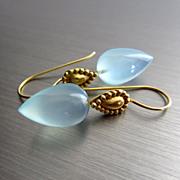 Gem Aqua Chalcedony-24k Gold Vermeil Earrings