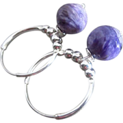 10mm Natural Charoite-Endless Sterling Silver Hoops-Dangle Earrings