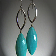Genuine Sleeping Beauty Turquoise Marquise-Sterling Silver Contemporary Dangle Earrings