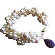 Woven Fresh Water Pearl-Russian Charoite Charm-Sterling Silver Bracelet
