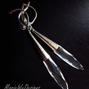 Crystal Natural Quartz-Sterling Silver Contemporary Earrings