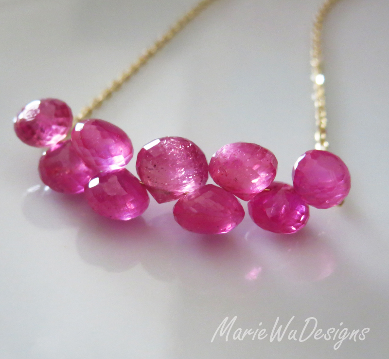 12.5ct Natural Pink Sapphire-Ruby-14k Solid Gold Necklace-September Birthstone